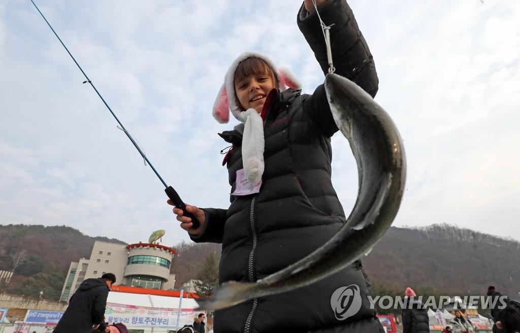 2019华川山鳟鱼庆典盛况(韩联社)