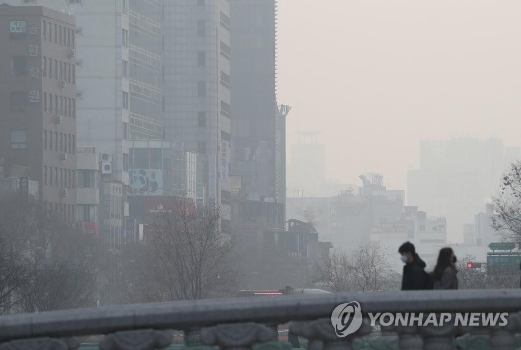 雾霾重压韩国