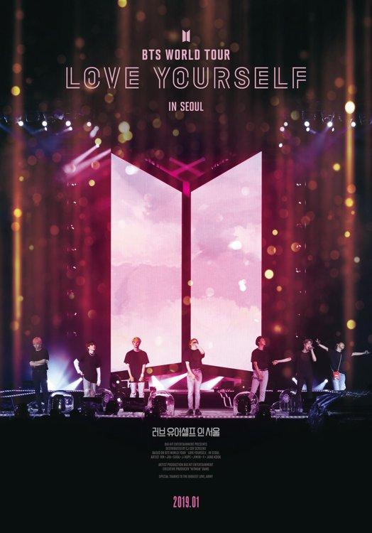 防弹少年团演唱会实况电影《LOVE YOURSELF in Seoul》海报(CJ CGV供图)