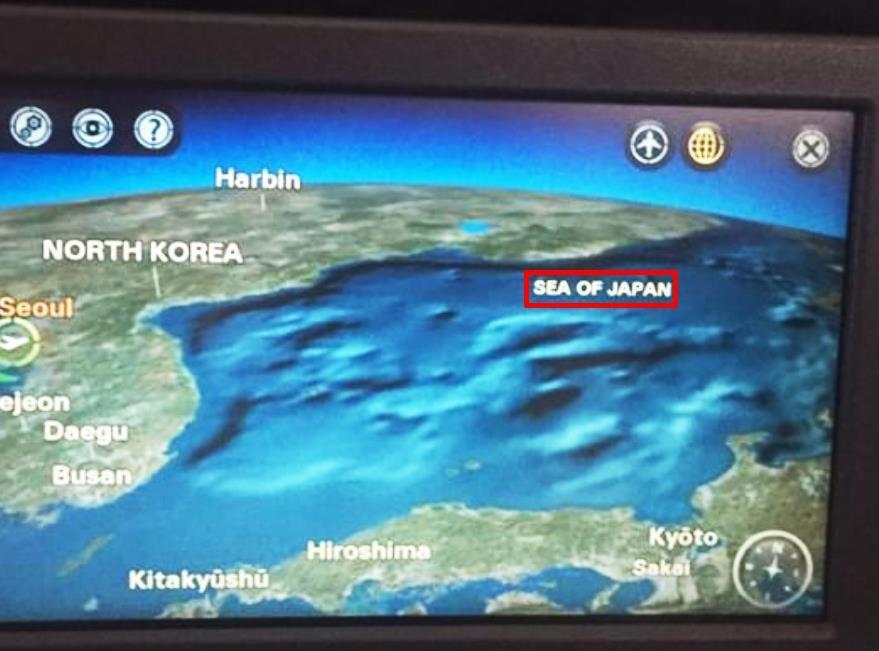 """俄罗斯某导航系统内标记的""""日本海""""(红色方框内)名称。(韩国宣传专家徐敬德教授供图)"""