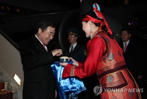 韩总理抵达蒙古国