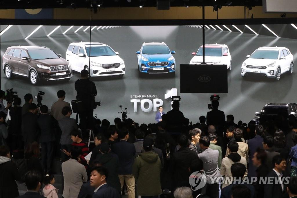 资料图片:3月28日,2019首尔国际车展媒体日活动在京畿道高阳市韩国国际展览中心举行。(韩联社)