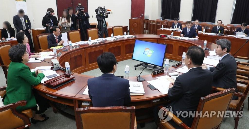 3月29日上午,在国会,情报委员会召开全体会议。(韩联社)