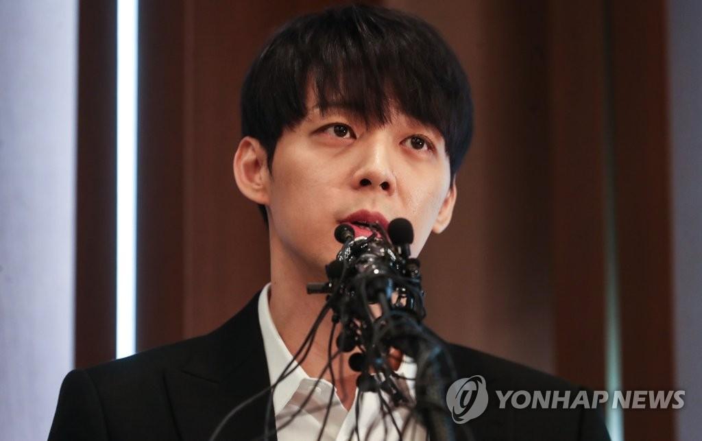资料图片:4月10日下午,朴有天在首尔韩国新闻中心召开记者会。(韩联社)