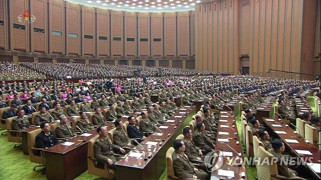 资料图片:朝鲜举行第十四届最高人民会议第一次会议。 韩联社/朝中社(图片仅限韩国国内使用,严禁转载复制)