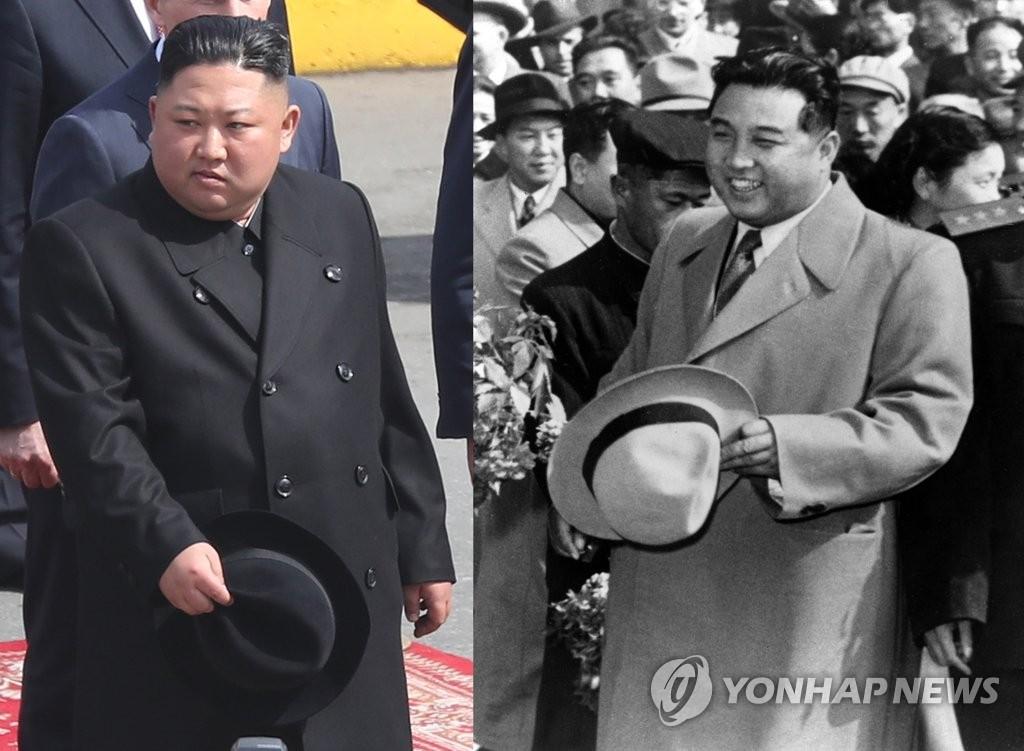 资料图片:金真恩4月26日访问俄罗斯时所传大衣和摘帽的动作与金日成年轻时酷似。这被视为金正恩上台伊始的统治策略在衣着上的表现。 韩联社