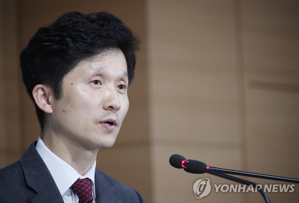 资料图片:统一部发言人李相旻(韩联社)