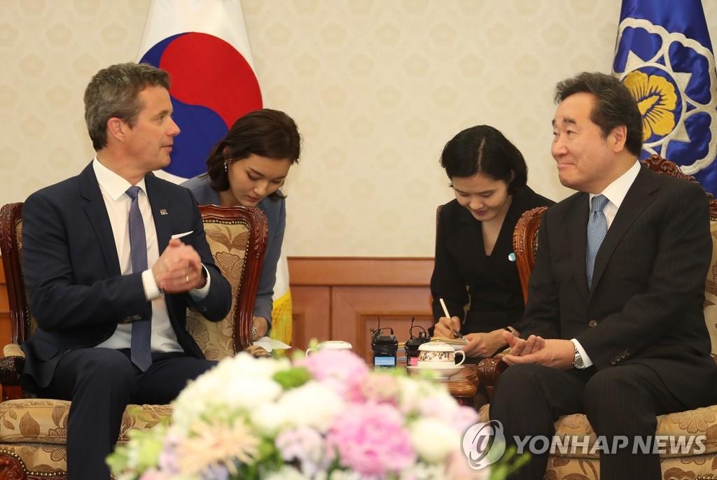 韩总理会见丹麦王储