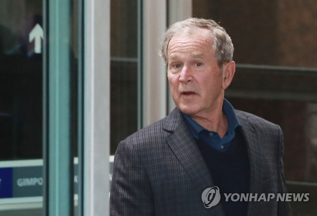 小布什抵韩。(韩联社)