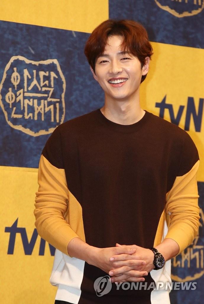 5月28日,在首尔皇宫酒店,演员宋仲基出席新剧《阿斯达年代记》发布会。(韩联社)