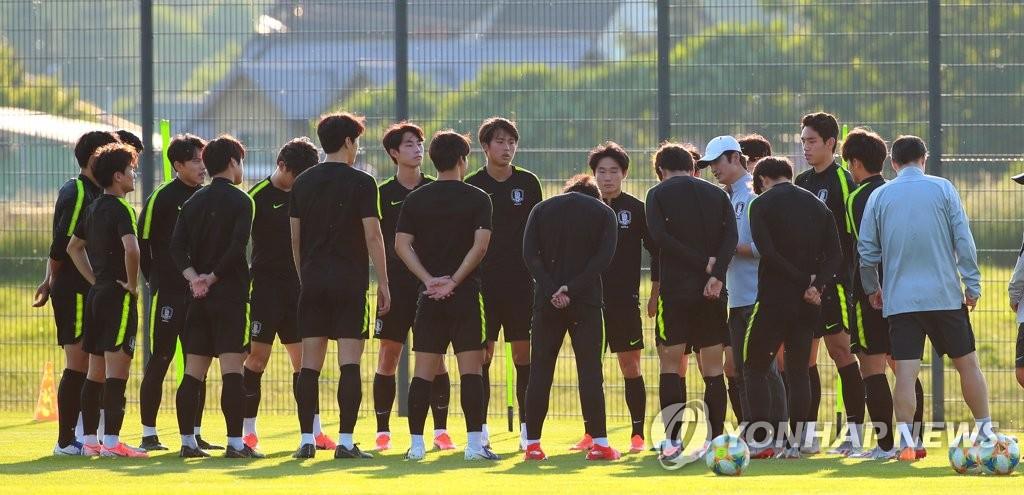 资料图片:当地时间10日下午,在波兰卢布林,韩国队备战U20半决赛。 韩联社