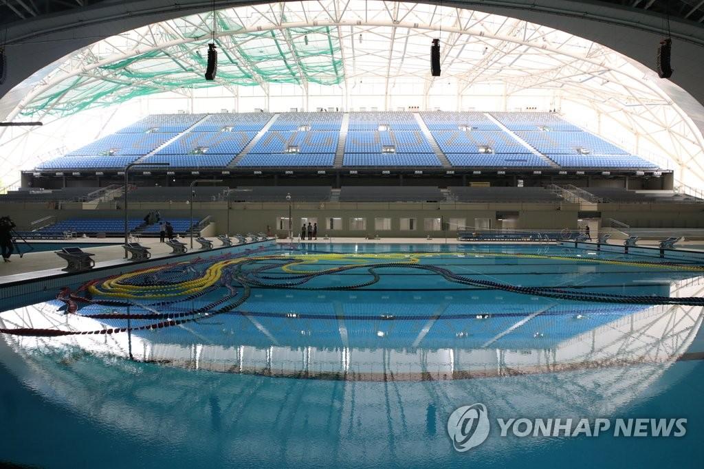 资料图片:光州南部大学市立国际游泳池施工现场 韩联社