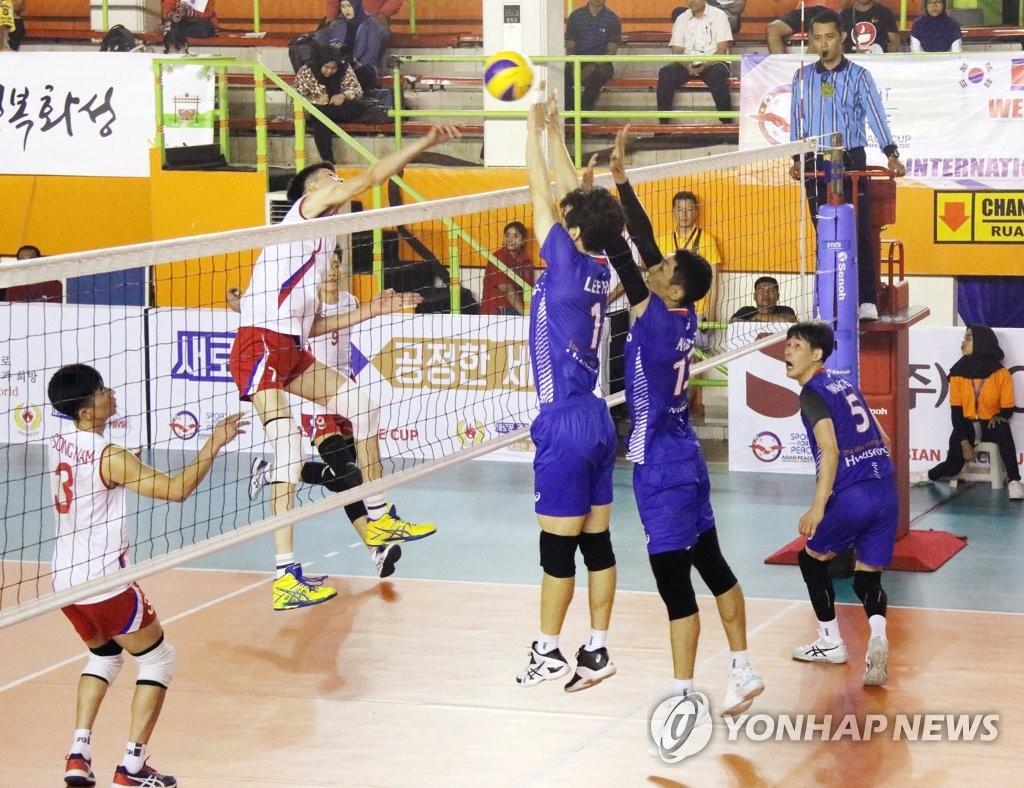 韩朝排球比赛现场 韩联社