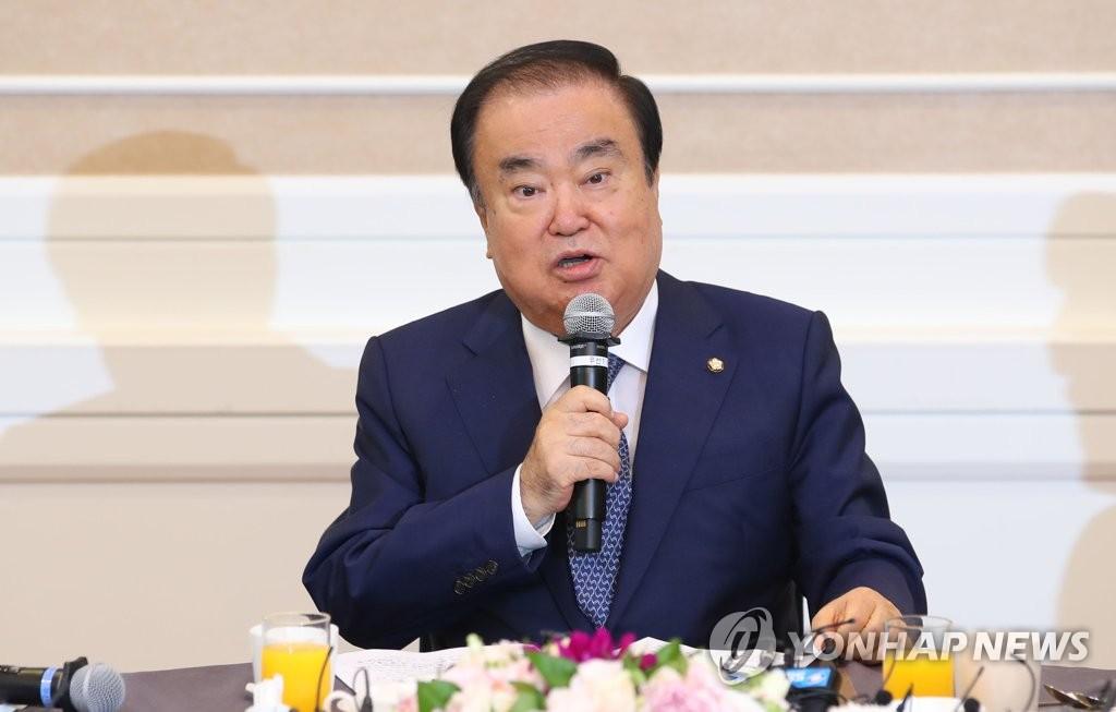7月12日,在首尔国会大楼,韩国国会议长文喜相举行就职一周年记者会。 韩联社