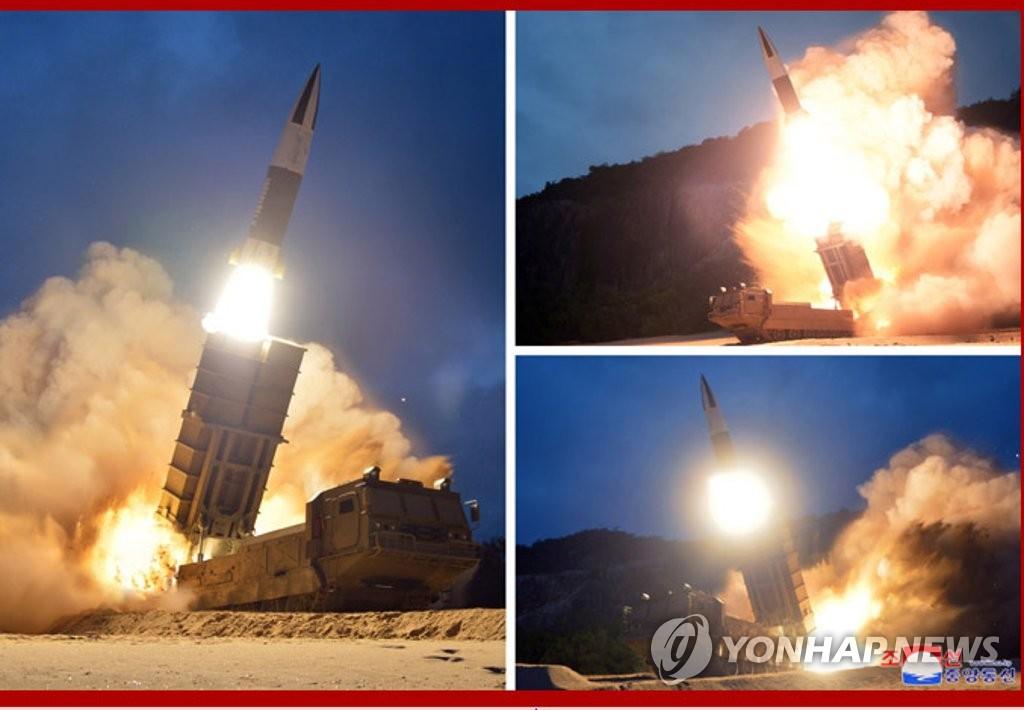 资料图片:这是8月10日朝鲜发射飞行器的现场照。 韩联社/朝中社(图片仅限韩国国内使用,严禁转载复制)