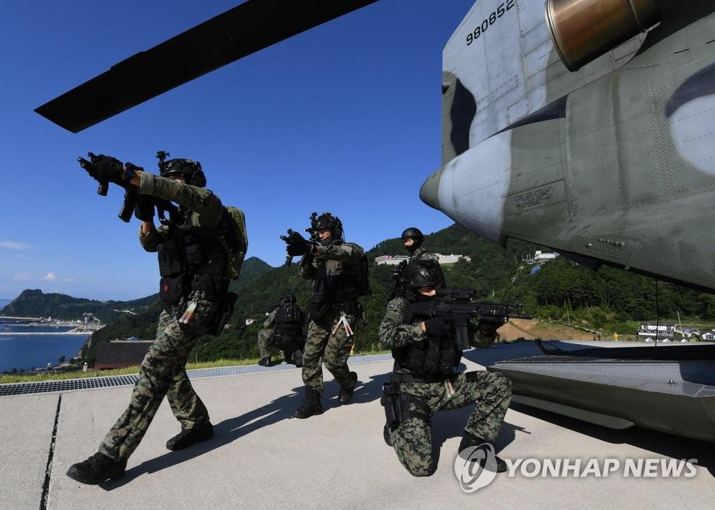 """资料图片:8月25日,在郁陵岛,陆军特战队被CH-47""""支奴干""""直升机送到地面。 韩联社/韩国海军(图片严禁转载复制)"""
