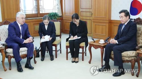 韩国总理会见哈萨克斯坦外长