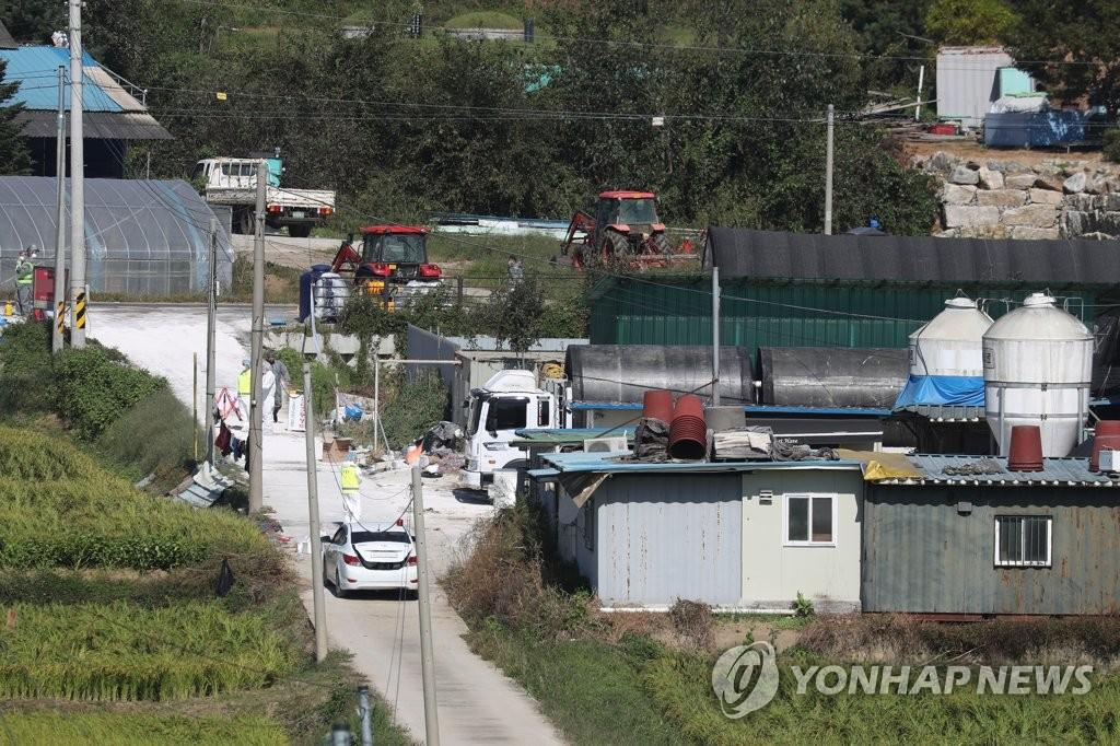 资料图片:9月24日,在京畿道坡州市,韩国防疫人员在发生非洲猪瘟的养猪场周围设卡限行,准备扑杀掩埋。 韩联社
