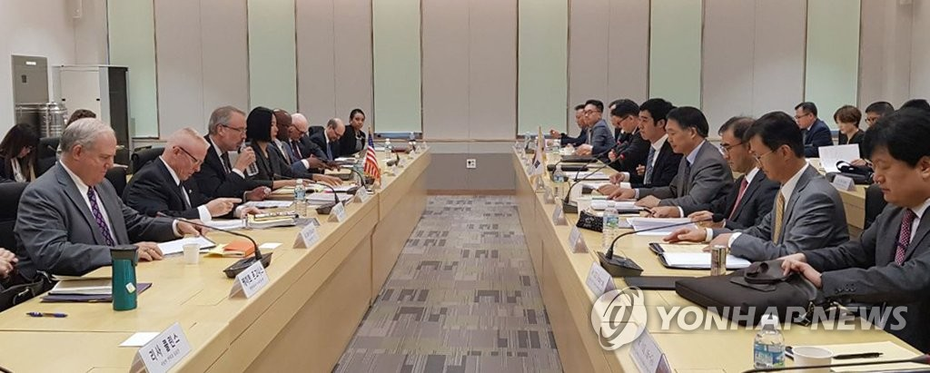 资料图片:第11份韩美防卫费分担特别协定第一轮谈判现场 韩联社/外交部供图(图片严禁转载复制)