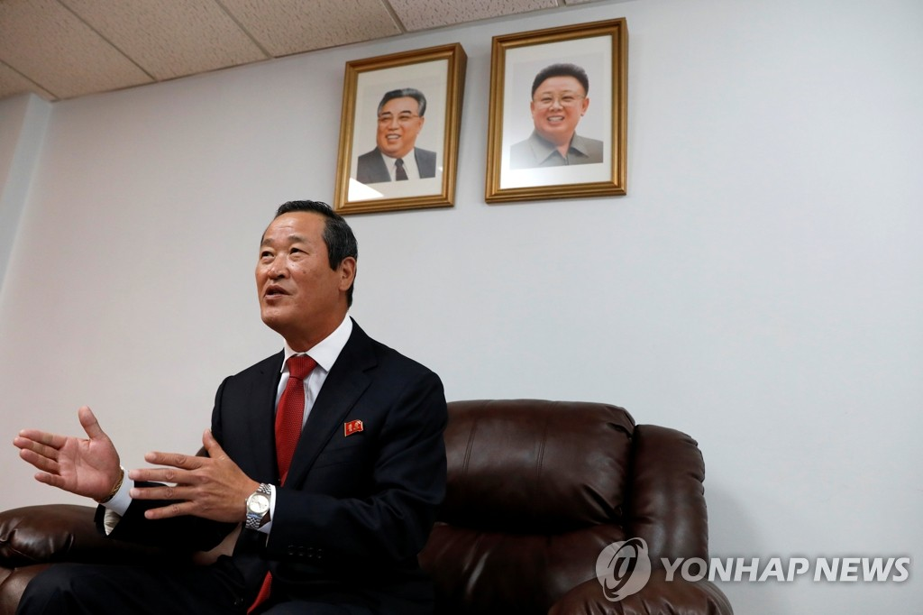 朝鲜常驻联合国代表金星在朝鲜常驻联合国代表团召开记者会。 韩联社/路透社(图片严禁转载复制)