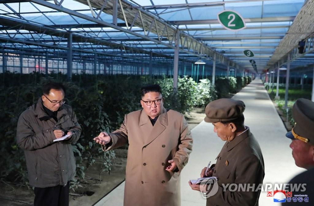 朝中社10月18日报道,朝鲜国务委员会委员长金正恩(左二)视察了位于咸镜北道庆城郡的温室农场和苗圃的建设现场。 韩联社/朝中社官网(图片仅限韩国国内使用,严禁转载复制)