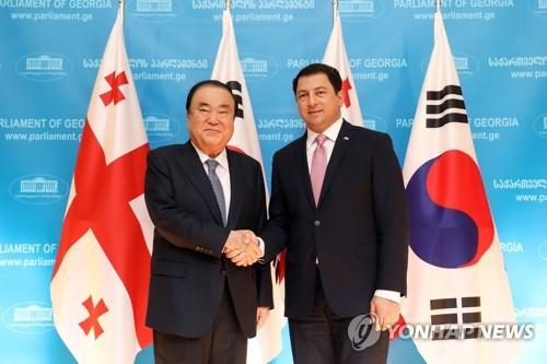 韩-格鲁吉亚国会议长合影