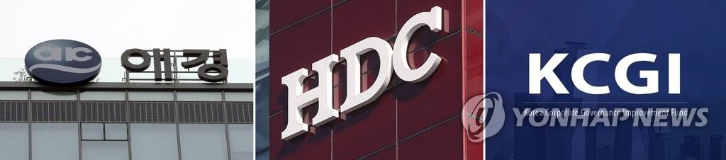 资料图片:左起依次是爱敬集团、HDC现代产业开发联合体、大韩航空第二大股东私募基金KCGI。 韩联社