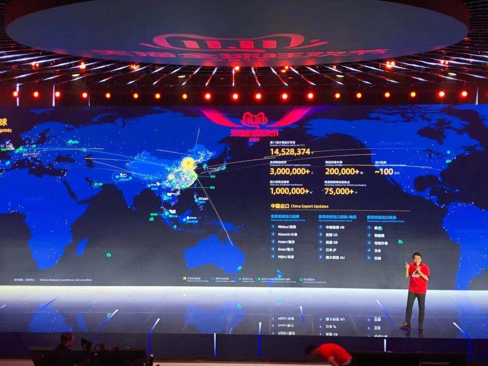 资料图片:2019年11月11日,阿里巴巴的工作人员介绍公司全球销售业绩。 韩联社