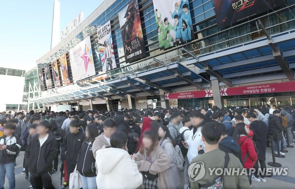 """11月14日,韩国最大规模的国际电玩展""""G-STAR2019""""在釜山国际会展中心举行。 韩联社"""
