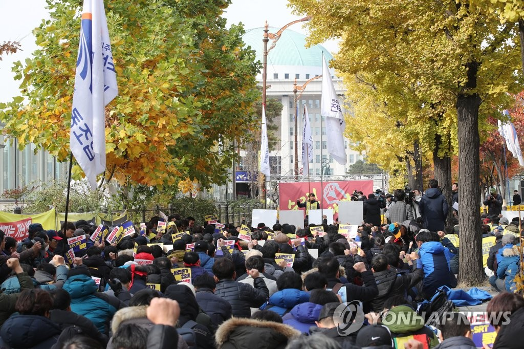 韩国铁路工会总罢工第二天