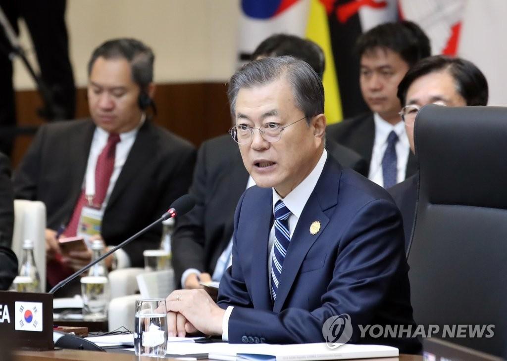 11月26日,在釜山国际会展中心,文在寅出席2019韩国-东盟特别峰会第一阶段会议。 韩联社