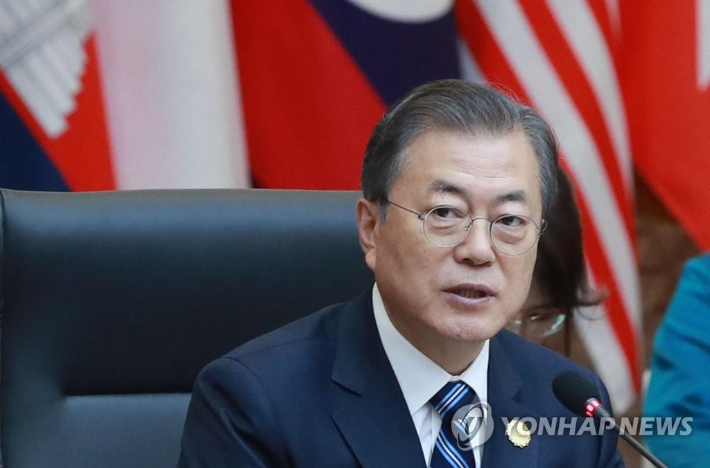 11月26日,文在寅在2019韩国-东盟特别峰会第一阶段会议上发言。 韩联社