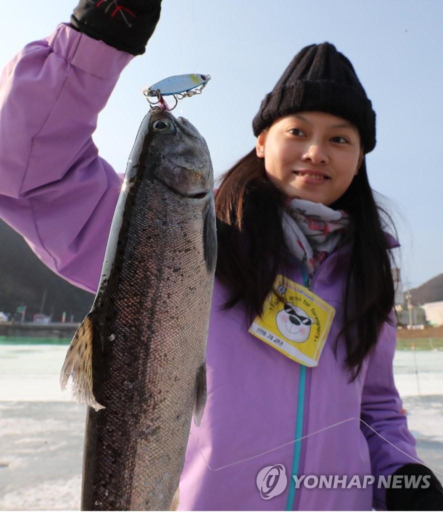 资料图片:1月5日,在江原道华川郡华川邑,一名外国游客钓起一条大鱼。 韩联社