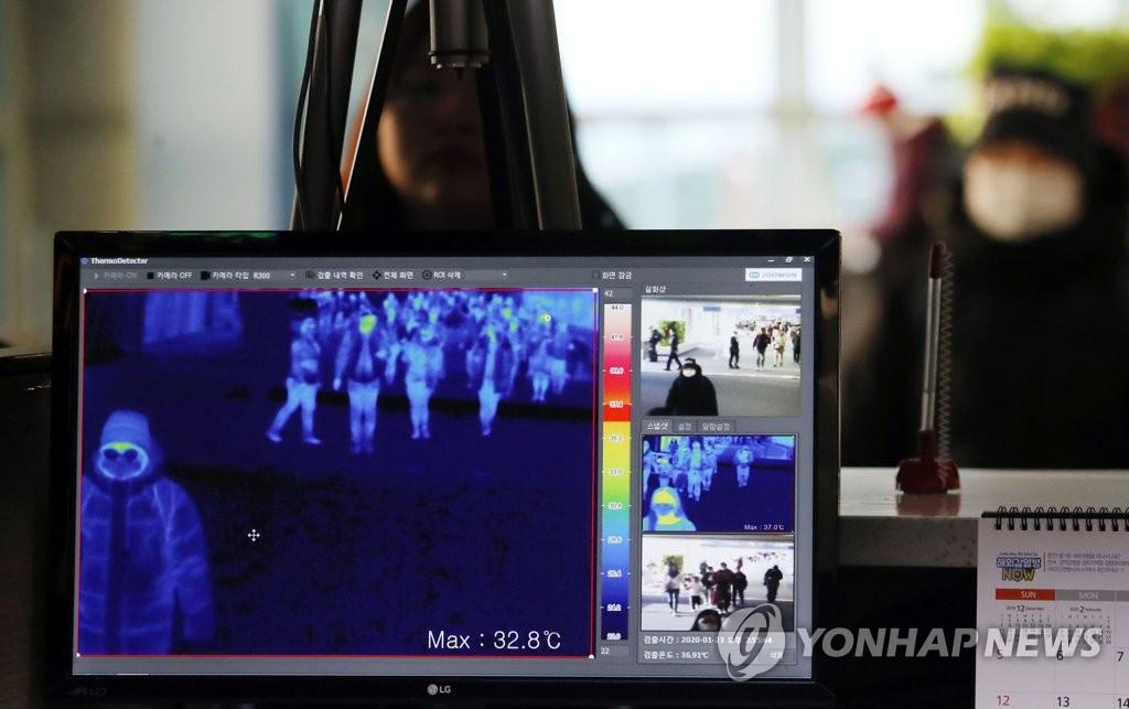 资料图片:1月23日上午,在仁川国际机场第一航站楼国际到达大厅,韩国疾控部门使用红外测温仪筛查发热旅客。 韩联社