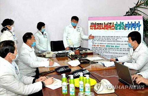 朝鲜医务人员开会讨论防疫