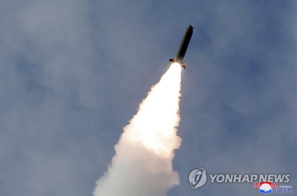资料图片:据朝中社3月3日报道,朝鲜进行火力打击训练。 韩联社/朝中社(图片仅限韩国国内使用,严禁转载复制)
