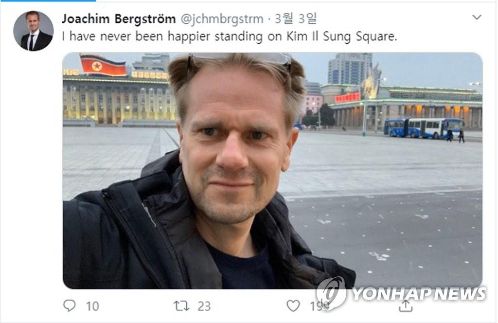 资料图片:3月3日,瑞典驻朝鲜大使约阿切姆·贝里斯特伦在推特上上传了在平壤金日成广场拍摄的照片。 韩联社/大使推特截图(图片严禁转载复制)