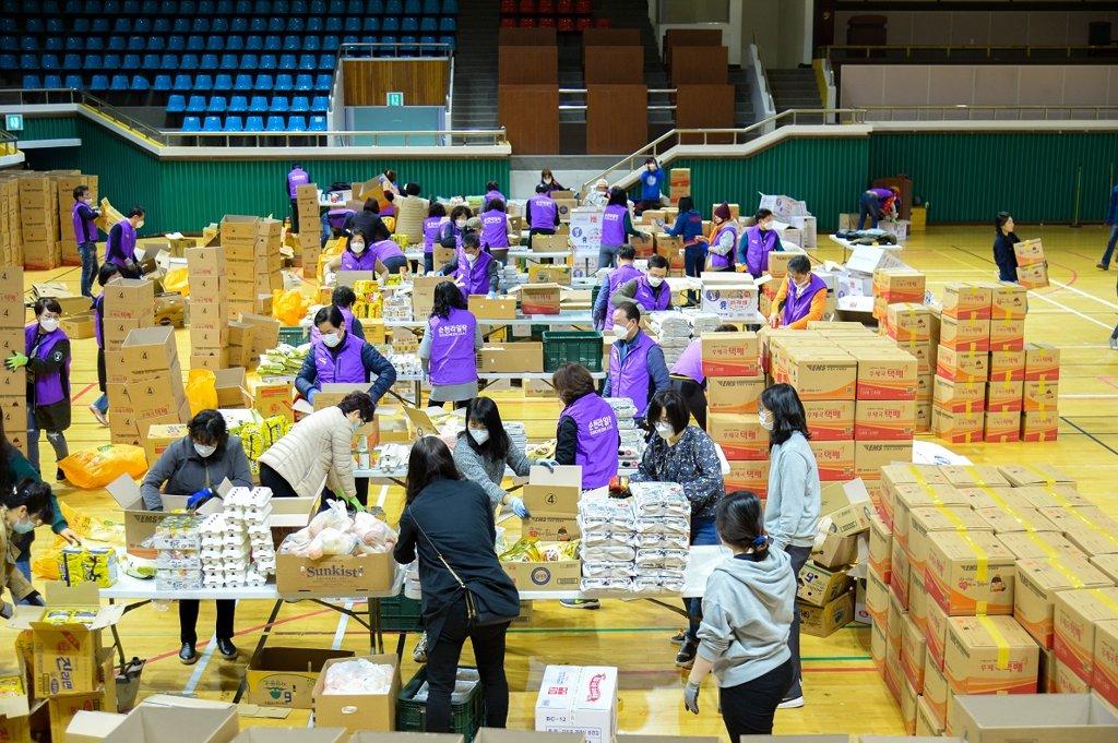 韩顺天市疫情下开展献爱心公益活动