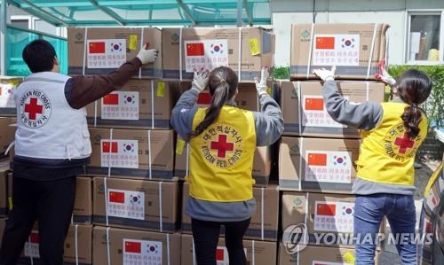 中国捐赠口罩再送往韩国各地