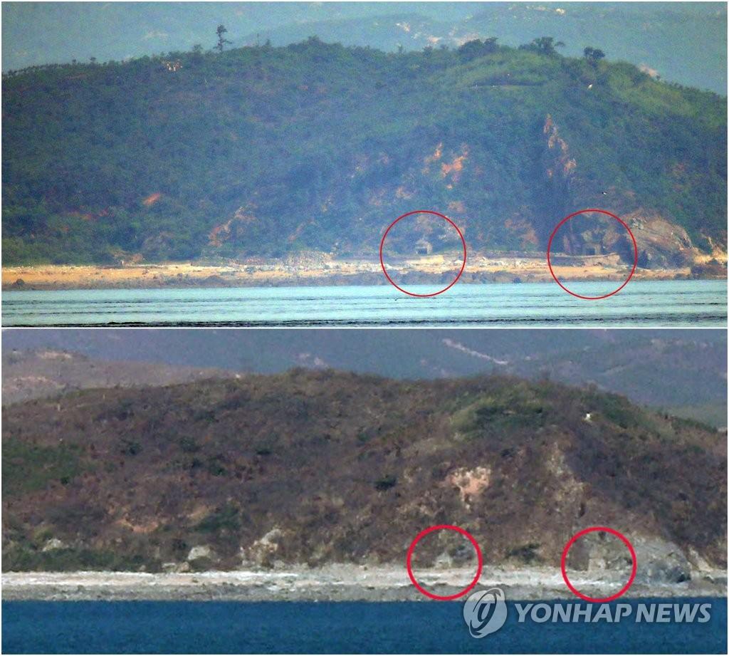 资料图片:上图为6月19日从延坪岛观测到的朝鲜海岸炮炮门打开景象,下图为2018年11月20日同一地点的炮门关闭。 韩联社