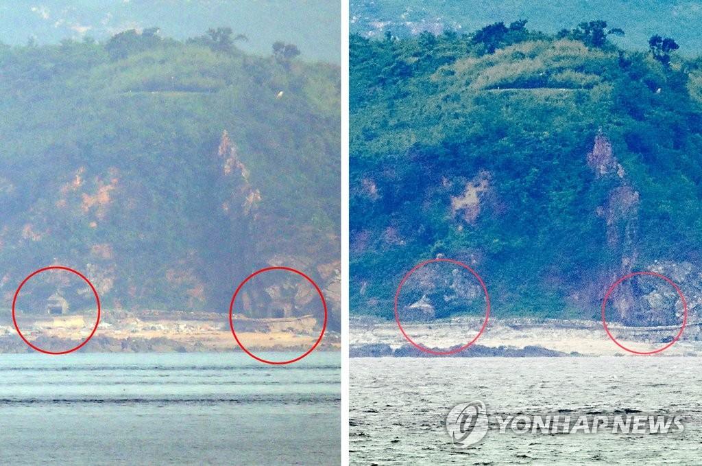 6月30日下午,在仁川市翁津郡大延坪岛,遥望对岸的朝鲜海岸炮山洞掩体(右图),对比19日拍摄的左图,可以发现洞口已经关闭。