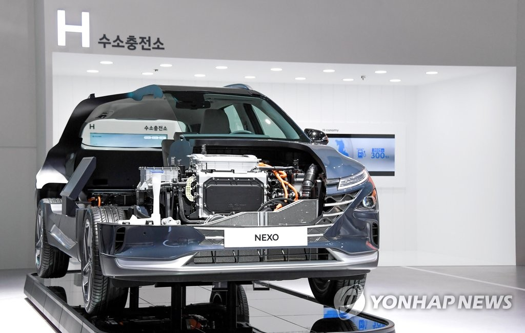 """资料图片:现代汽车氢能电动汽车""""NEXO"""" 现代起亚汽车供图(图片严禁转载复制)"""