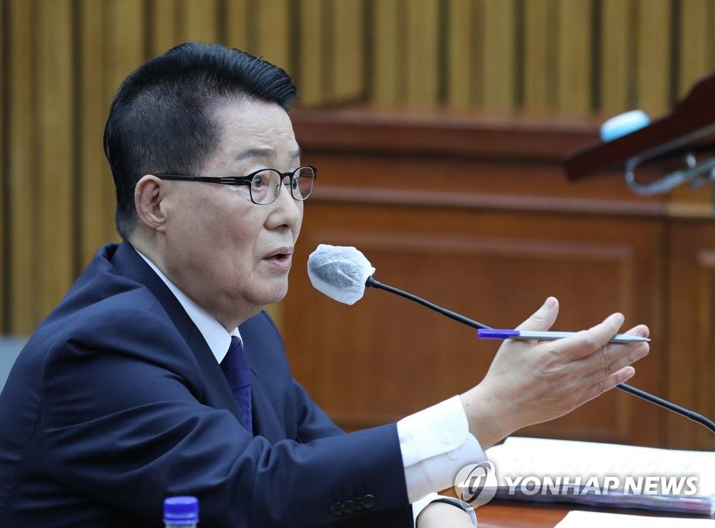 7月27日下午,在首尔市的国会情委会会议室,朴智元出席人事听证会答议员问。 韩联社