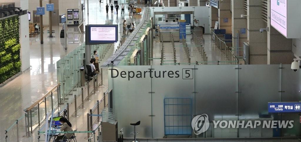 7月27日,在仁川国际机场,疫情导致旅客大减。 韩联社
