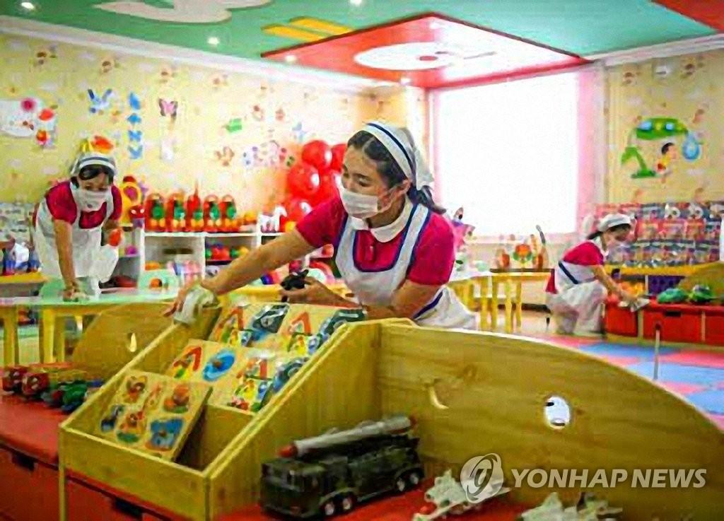 朝鲜幼儿园消毒防疫