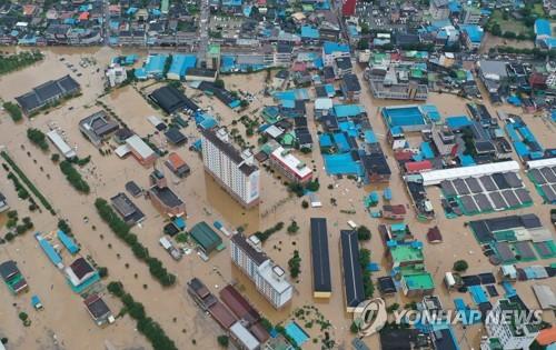 韩西南地区暴雨成灾