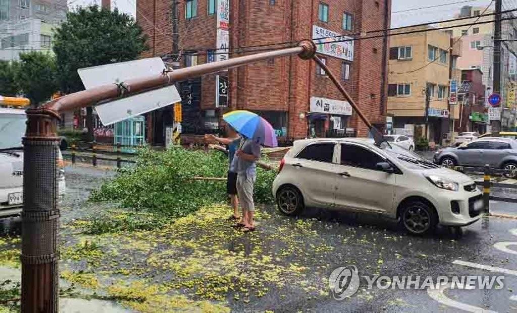 """台风""""海神""""造成韩国南部1.7万户停电"""