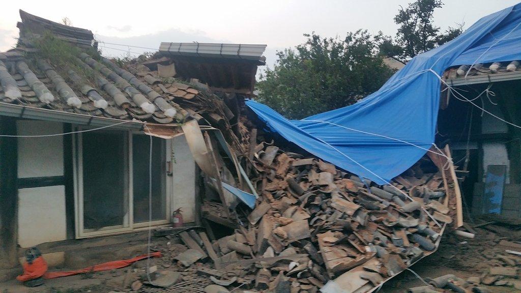 9月7日,在全罗南道昌宁市,一幢民宅受台风影响倒塌。 韩联社/全罗南道灵光郡供图(图片严禁转载复制)