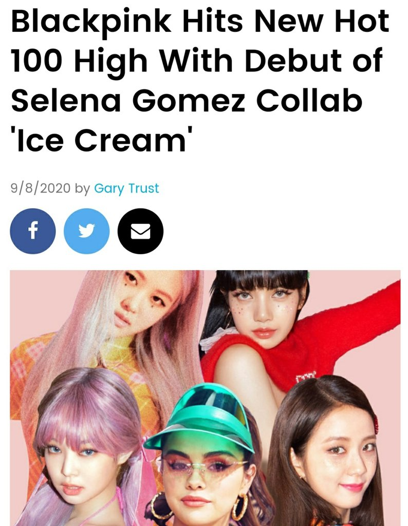 BLACKPINK《ICECREAM》挺进公告牌百强单曲榜 韩联社/公告牌官网截图(图片严禁转载复制)