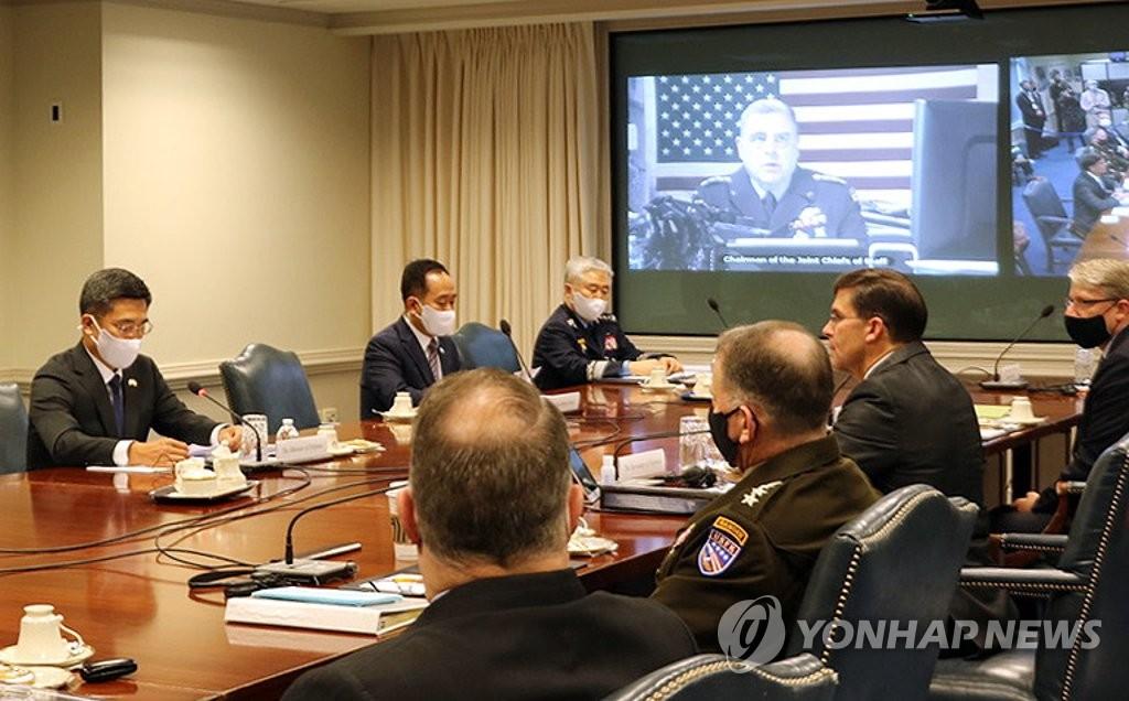 当地时间10月14日,韩国国防部长官徐旭在美国国防部与美防长马克·埃斯珀共同主持召开第52届韩美安保会议。 韩联社